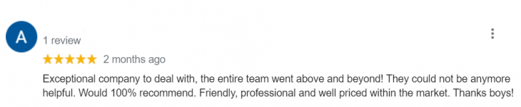 Screenshot of a positive Google review of the business.