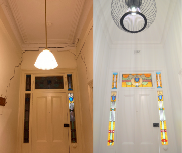 A side by side photo showing the before and after of an underpinning and renovation of a home. It shows large wall cracks above the front door, standing in the hallway looking towards the door. The before photo shows large cracks and an old pendant light. The after photo shows no cracks, a new black pendant light, and fresh white paint.