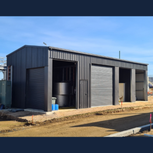 Large shed in final stages of construction