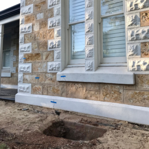 Front of a heritage home with underpinning works in progress